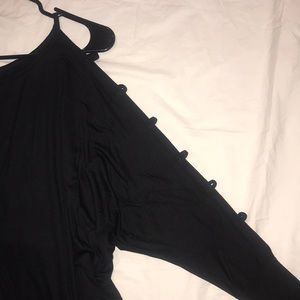 Tops - Blk stretch rayon jersey blouson open sleeve top